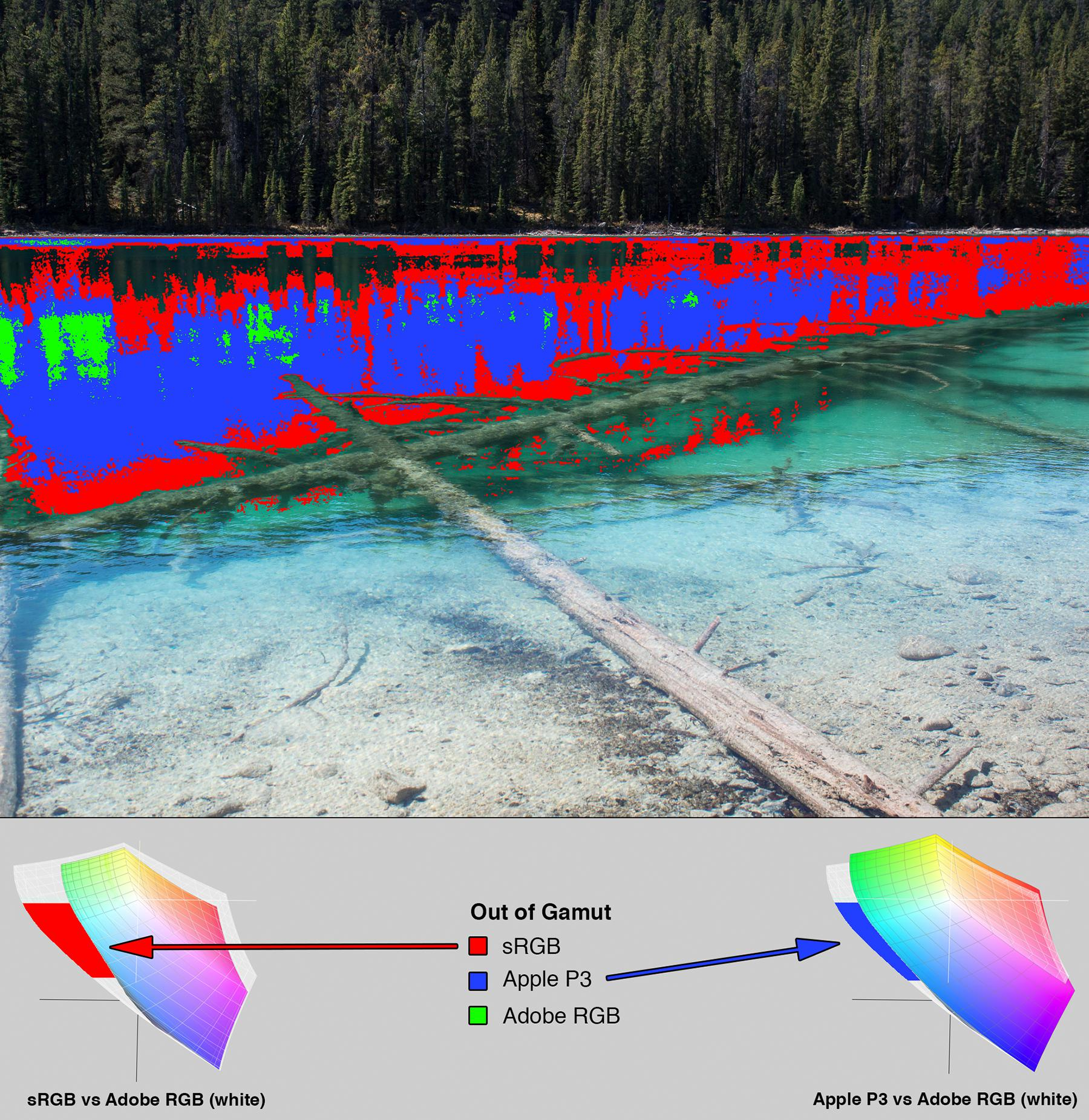 Lake photo from Figure 3. Overlaid with a heat map indicating which ares of the image are out of gamut. At the bottom of the image is a section with 3D LAB plots showing how the colorspaces differ.